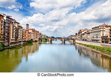 Arno river in Florence (Firenze), Tuscany, Italy.Panorama