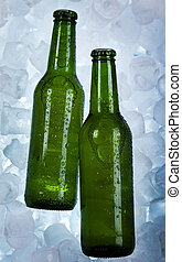 Beer is in ice - Beer collection, glass in studio.
