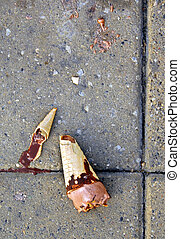 Dropped ice-cream, bad luck - dropped broken chocolate...