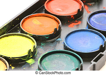 Used water color paint box on white background