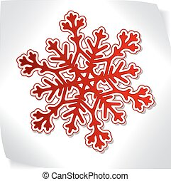 Red paper snowflacke over blank sticker