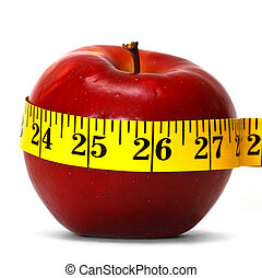 weight loss - concept of weight loss with apple and...