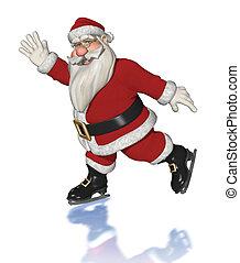 santa, Claus, hielo, patinaje