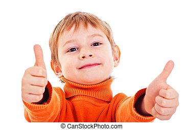 Boy showing thumbs up isolated one white