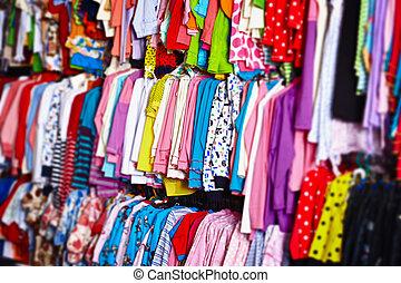 bebé, ropa, perchas, Tienda