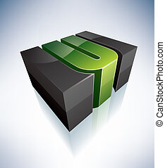 Three-dimensional U Letter - 3D U green logo letter (part of...