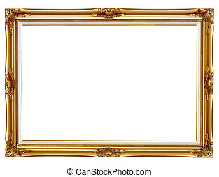 Gilded frame for painting on white background - Old gilded...