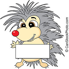 Cute hedgehog holding a blank sign - Vector illustration of...