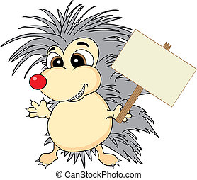 Cute hedgehog holding a wooden sign - Vector illustration of...