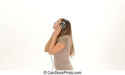Girl loves to listen music