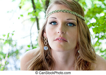 Woman with Hippie look