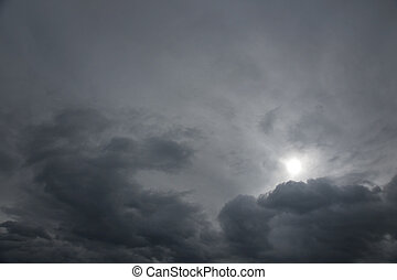 Gray moody sky - Background of moody grey sky with bleak sun