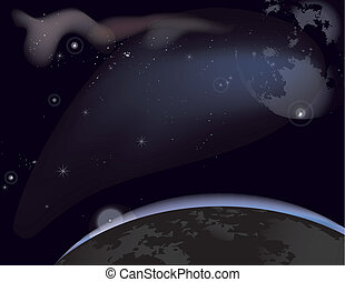 Starry Sky - Vector illustration of a starry sky with the...