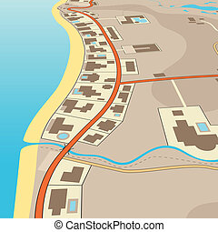Angled beachfront - Editable vector illustration of an...