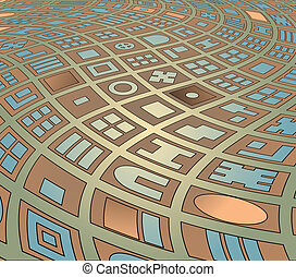 Twisted streets - Editable vector abstract illustration of a...