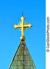 Cross with lightning rod