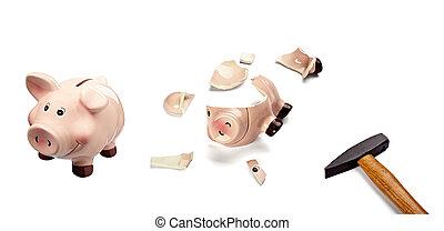 piggy bank money savings finance broken hammer - collection...