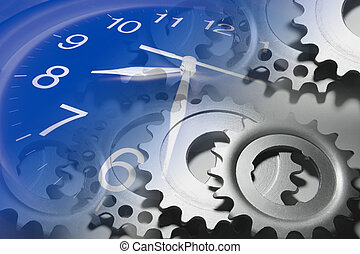 Clock and Cog Wheels - Composite of Clock and Cog Wheels