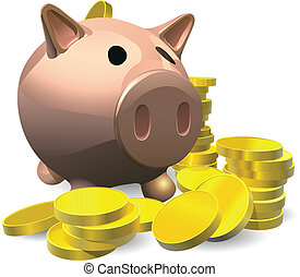 Piggy bank with gold coins illustration