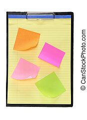 Clipboard with Sticky Notes on White Background