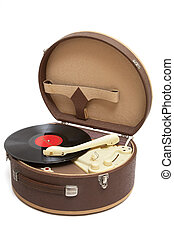 Retro portable turntable - Vintage record player with vinyl...