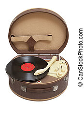 Vintage record player - Retro portable turntable with vinyl...