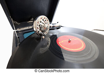 Vintage gramophone with record - Vintage gramophone with...