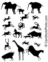 African animals - stylize - vector