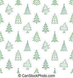 Christmas trees, seamless - Christmas trees, winter holiday...