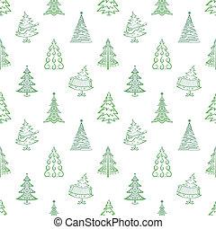 Christmas trees, seamless - Christmas trees, winter holiday...