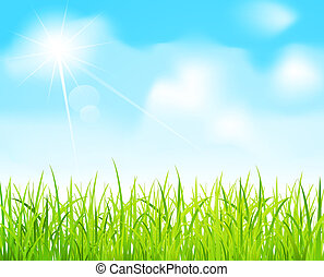 vector blue sky and green grass