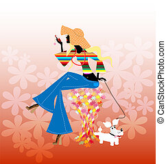 abstract blonde girl and dog - on an abstract floral...