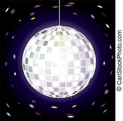 disco ball - on dark background is big specular disco ball