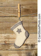 christmas sock on wood - christmas sock on rustic wood