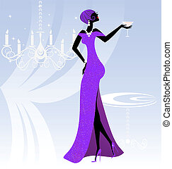 lady in violet - on an abstract blue background is stylish...