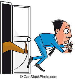 Dismissal - Isolated illustration Boss kicks out his...
