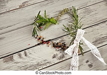 Heart of herbs - Heart made of different herbs and spices:...