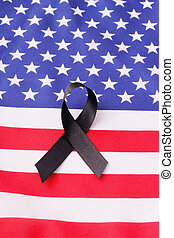 mourning band - A mourning band on a flag of the United...