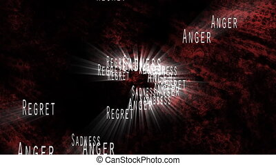 Anger Regret Sadness in Red looping Animated Background