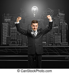 lamp-head businessman with hands up - excited lamp-head...