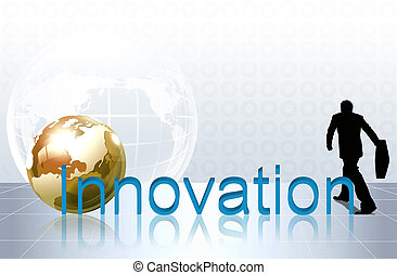 word innovation   on map world background