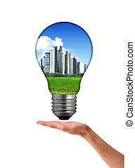 Clean energy, a light bulb