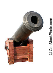Old cannon isolated on the white background