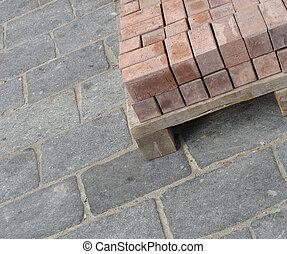 de madera, paleta, rojo, rectangular, piedra, azulejos,...