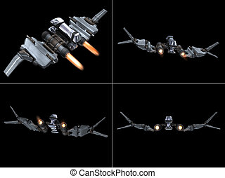 Four back views of a StarFighter in action with a black...