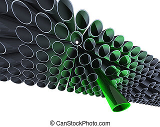 Lot of grey pipes with one high green