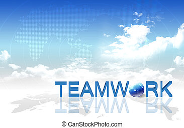 Hand and word Teamwork, business concept, on map background