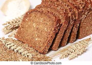 Whole wheat bread cut on slices
