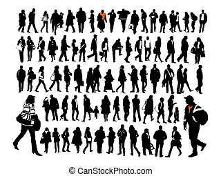 People - Silhouettes of ordinary people in everyday...