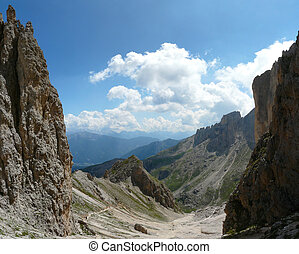 Dolomite landscape - View from Catinaccio mountain,...